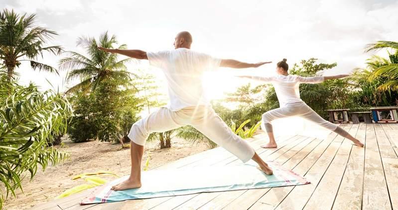 yoga com uma vista espetacular da natureza, ambiente ideal para relaxar