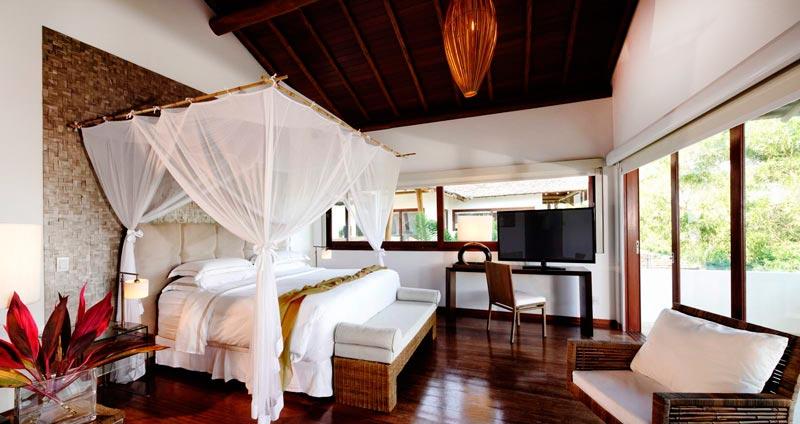 Detalhes da acomodação villa ocara com cama de casal e varanda únicas